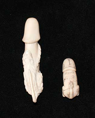 Carved bone penises.