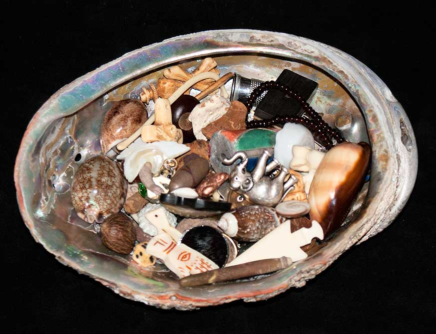 """My travel set in a large abalone shell - 6"""" X 8"""""""