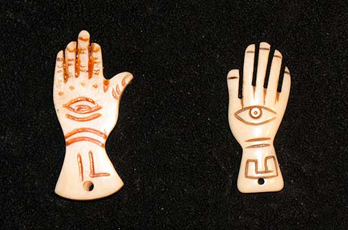 Hamsa Hands carved from Bone.