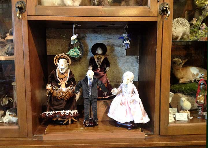 Costumed mice and animal skeletons in shadow boxes.
