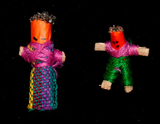 Male and female worry dolls