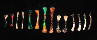 Larger bones painted with clues to interpretation in wonderful detail, as well as some painted with just decorative symbols.