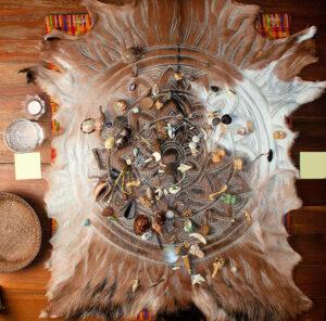 Goat skin mandala bone divination cloth