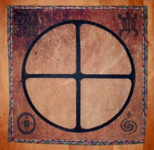 cloth with adinkra symbols used in bone reading