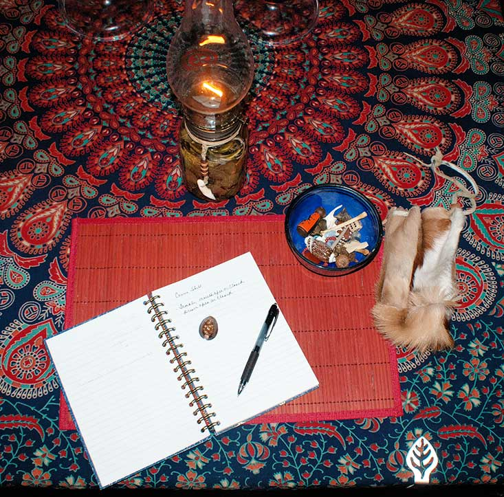 a journal, pen, lamp and set of bones.