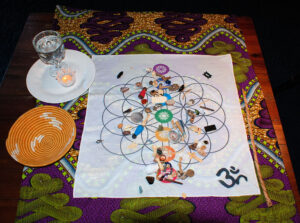 bone divination set on a Chakra cloth